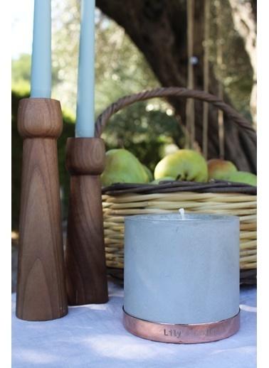 Lily's Candles Beton & Bakır Mavi Anemon Çiçeği Doğal Mum Bakır